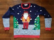 Adorable Hippie Santa Jolly Sweaters Ugly Christmas Sweater Womens Sz Large
