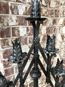 Vintage Pair Large Gothic Tole Candelabra Adjustable Heavy Cast Iron Bases Wow