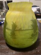 Muller Freres Luneville Green And Yellow Cameo Glass Water Scene Boats Mint