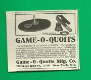 1922 Ad Game-o-quoits Indoor Ring Toss Shot From An Artillery Device