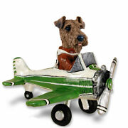 Airedale Terrier On An Airplane Stone Resin Figurine Statue