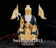 China Bronze 24k Gold Taoism Lord Lao Zi Immortal Hand Gourd Whip In Hand Statue