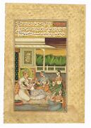 Mughal Miniature Old Painting Emperor With His Mistress - Gold And Gouache Work