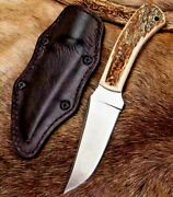 Trailing Point Knife Fixed Blade Hunting Combat Tactical Military Antler Handle