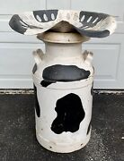 """Vtg Cow Print Dairy Milk Can Chair With Attached Antique Tractor Seat 28.5"""" Tall"""