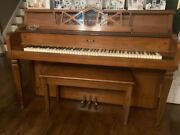 Antique 'the Grand Piano' Company Grand Piano With Bench, Kincaid Spinet Upright
