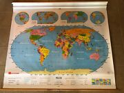 Vintage Nystrom 1ns99 Pull Down World Map 64 X 52 Markable Surface