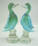 Pair Vintage Murano Barbini Mcm Sommerso Glass Duck Goose Birds Large Heavy 24cm