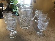 Anchor Hocking Vintage Wexford Pitcher And 5 Water Goblets - Excellent