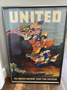 """1943 World War Ii Poster """" United Nations Fight For Freedom"""" Leslie Ragan 28x20"""""""