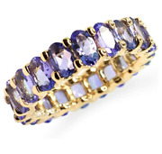Natural Tanzanite Eternity Ring White Or Yellow Gold Band 14kt