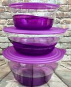 Tupperware New Set Of 3 Sheerly Elegant Purple Serving Bowls 9, 13.5 And 19 Cups