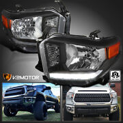 For 2014-2021 Toyota Tundra Black Headlights Lamps Led Strip Left+right 14-21