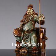 56 Cm Chinese Bronze Painted Seat Guan Gong Yu Warrior God Statue