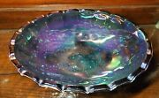 Indiana Carnival Glass Large Oval Footed Blue Harvest Grape Fruit Bowl Stunning