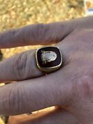 Late 1800andrsquos Yellow Gold Signet Ring With English Family Crest.