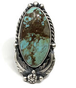 Number 8 Turquoise Ring Sz 8 By Navajo Betta Lee Handmade Sterling Silver 16.5g