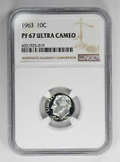 1963 Proof Roosevelt Dime 10c Ngc Certified Pf 67 Ultra Cameo 019