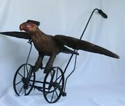 Antique American Carved And Painted Eagle Push Toy W/wrought Iron Frame Mechanism