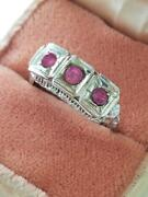 Antique Victorian Estate 1800and039s 1900and039s 14k Gold Pink Sapphires Filigree Ring