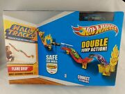 New Hot Wheels Wall Tracks Flame Drop Double Jump Action Track Set Car