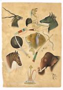 Handmade Mughal Miniature Painting Animals And Traditional Weapons - Rare Artwork