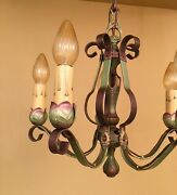 Vintage Lighting 1920s. Green Two Chandeliers Two Sconces. Lincoln Pompeian