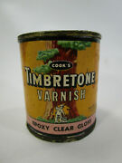 Vintage Small Cooks Timbretone Paint Varnish Can Advertising Redwood Tree