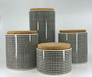 Vintage Swid Powell Graph Black And White 4-canister Set W/cork Lids, Japan Design