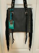 New - Montana West Real Leather Fringe Collection Concealed Carry Bag - Black