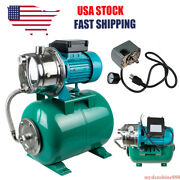 1hp 750w Shallow Well Jet Pump Pressure Switch Tank 740gph Stainless Steel 110v