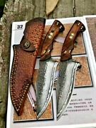 Handmade Clip Point Knife Hunting Combat Tactical Damascus Steel Wood Handle Cut