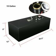 15 Gallon Race Fuel Cell Gas Tank W/ Cap And Level Sender Polished Aluminum Black