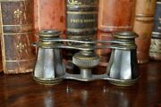 Antique French Opera Glasses Mother Of Pearl Purple Gray Abalone Etched Design