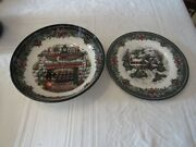 New Royal Stafford Christmas 8 1/2 1791 Fireplace Pasta Bowl And 8 1/2 Plate