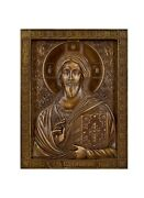 Orthodox Russian Icon Jesus Christ Pantocrator, Wooden Carved Icon
