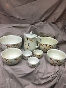 Lot Vintage Hall Autumn Leaf Coffee Pot 2 Large And 2 Small Bowls3 Custard Cups