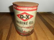 Rare Full Vintage Dx Marine Outboard Quart Tin Advertising Motor Oil Can