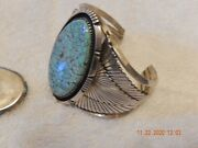Lg Sterling Kingman Turquoise Navajo Cuff Bracelet And Ring - Signed Tom Willet