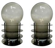 Pair Of Lamps Table Manufacture Tronconi Years 70 In Steel Vintage