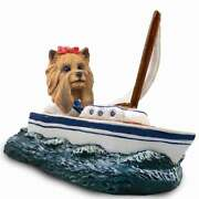 Yorkshire Terrier On A Sailboat Stone Resin Figurine Statue