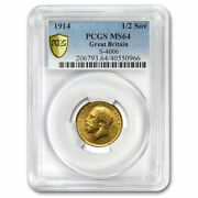 1914 Great Britain Gold 1/2 Sovereign George V Ms-64 Pcgs - Sku224132