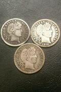 1911 S 1912 D 1914 Barber Dime 90 Silver Dimes Lot Of 3 Coins