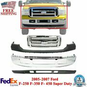 Front Bumper Chrome + Grille + Upper And Low Cover For 2005 - 2007 Ford F250 F350