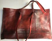 Exclusive Engsonyc Designer Red Calf Leather Italian Vegetable Tanned Signed