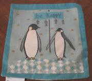 Penguin Penguins Eat Fish Be Happy Christmas Holiday Snow Scene Pillow Shell New