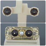 Vintage 14k Gold, Black Carved Onyx, Pearls And Diamonds Earrings And Brooch