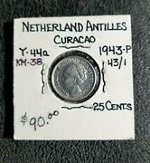 Netherlands Curacao 1943-p 25 Cents Silver Coin Ms Die Cracks