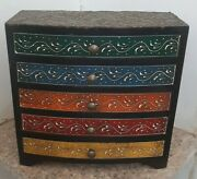 Wooden Antique Finish Wall Cabinet Embossed Work Brass Finish Drawer Cupboard