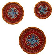 Red Wooden Decorative 3 Plates Set Wall Hanging Handmade Home Decor Wood Plate